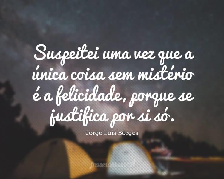 Suspeitei uma vez que a única coisa sem mistério é a felicidade, porque se justifica por si só.