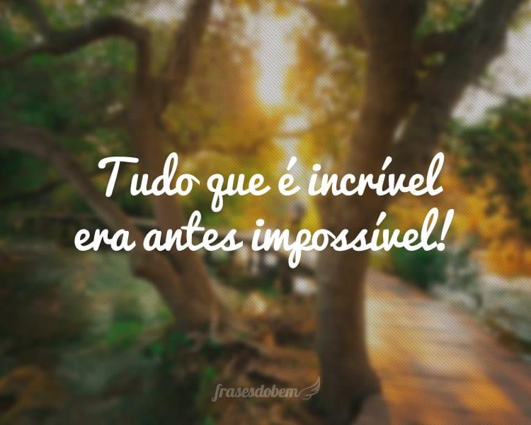 Tudo que é incrível era antes impossível!