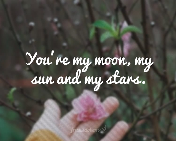 You're my moon, my sun and my stars.