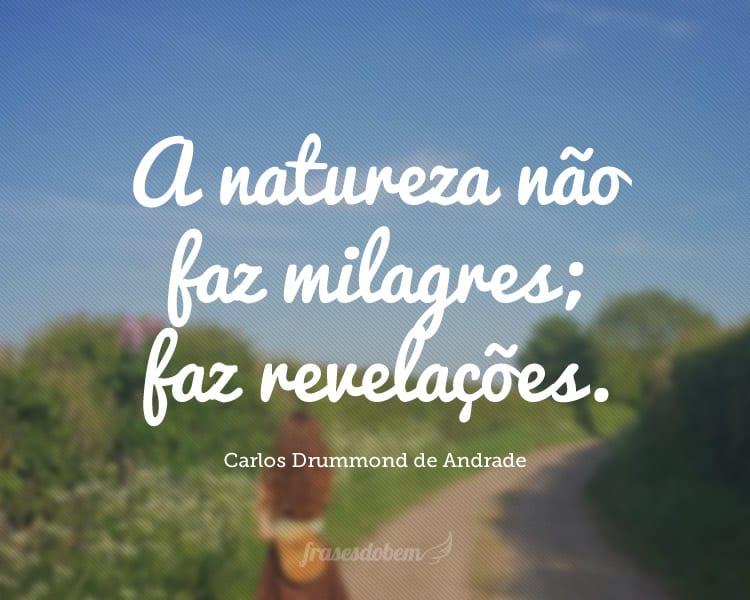A natureza não faz milagres; faz revelações.