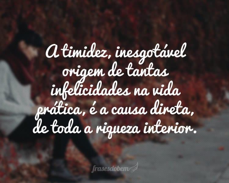 A timidez, inesgotável origem de tantas infelicidades na vida prática, é a causa direta, de toda a riqueza interior.