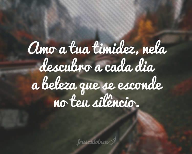 Amo a tua timidez, nela descubro a cada dia a beleza que se esconde no teu silêncio.