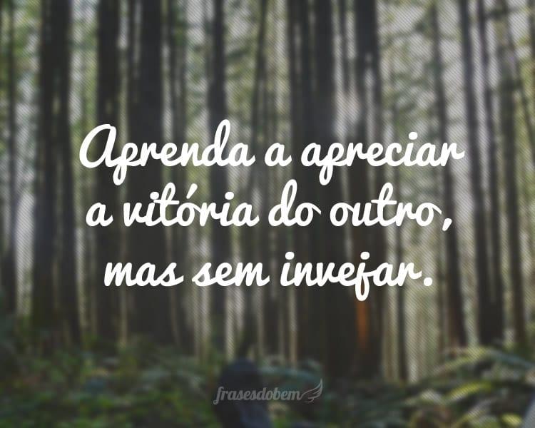Aprenda a apreciar a vitória do outro, mas sem invejar.