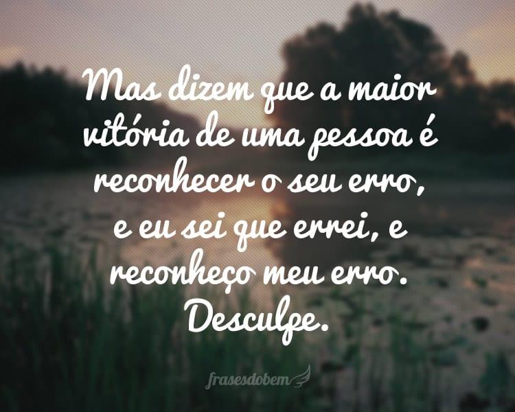 Mas dizem que a maior vitória de uma pessoa é reconhecer o seu erro, e eu sei que errei, e reconheço meu erro. Desculpe.