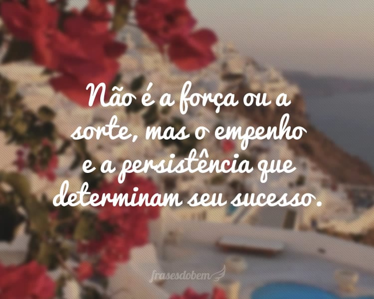 Não é a força ou a sorte, mas o empenho e a persistência que determinam seu sucesso.