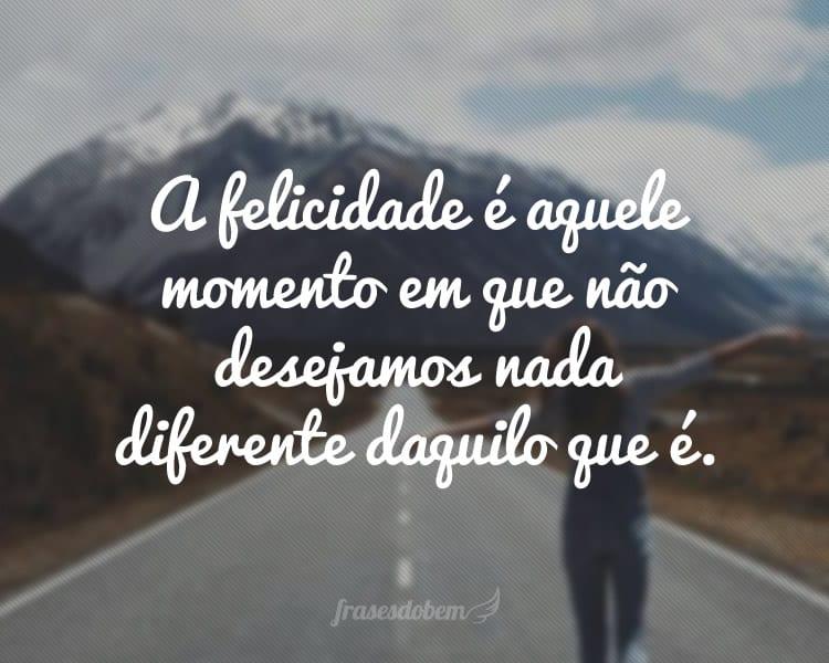 A felicidade é aquele momento em que não desejamos nada diferente daquilo que é.
