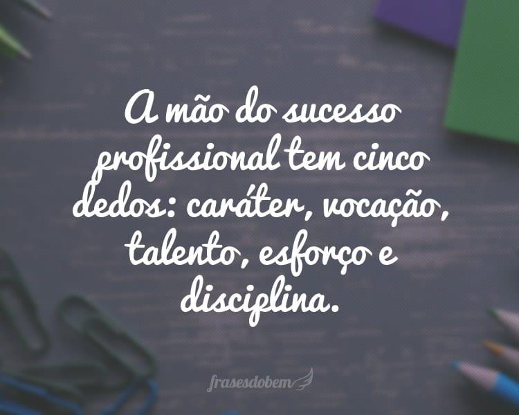 A mão do sucesso profissional tem cinco dedos: caráter, vocação, talento, esforço e disciplina.