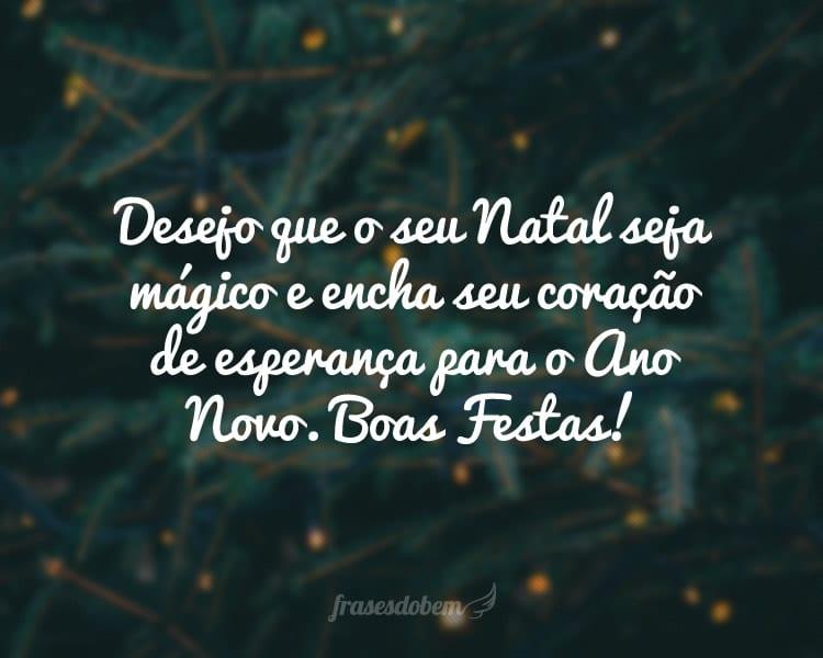 Desejo que o seu Natal seja mágico e encha seu coração de esperança para o Ano Novo. Boas Festas!