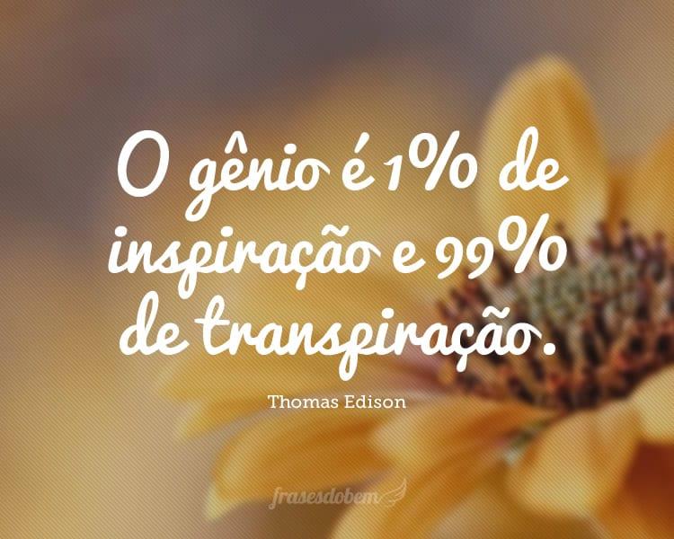 O gênio é 1% de inspiração e 99% de transpiração.