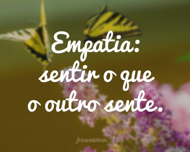 Empatia: sentir o que o outro sente.