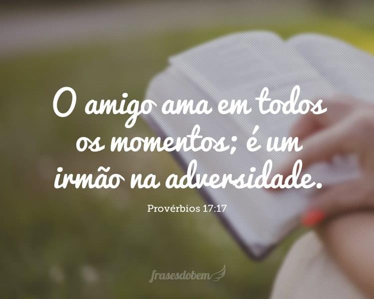 O amigo ama em todos os momentos; é um irmão na adversidade. (Provérbios 17:17)