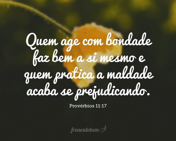 Quem age com bondade faz bem a si mesmo e quem pratica a maldade acaba se prejudicando. (Provérbios 11:17)