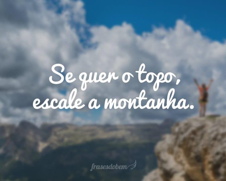 Se quer o topo, escale a montanha.
