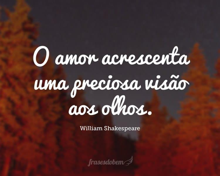 O amor acrescenta uma preciosa visão aos olhos.