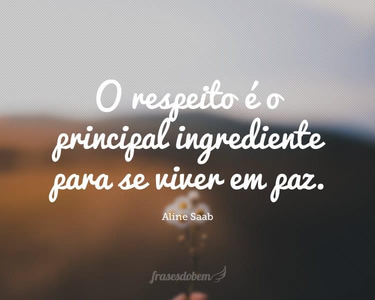 O respeito é o principal ingrediente para se viver em paz.