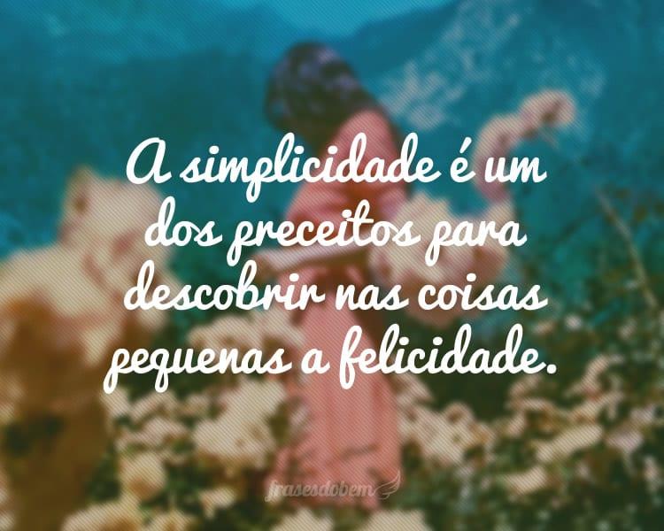 A simplicidade é um dos preceitos para descobrir nas coisas pequenas a felicidade.