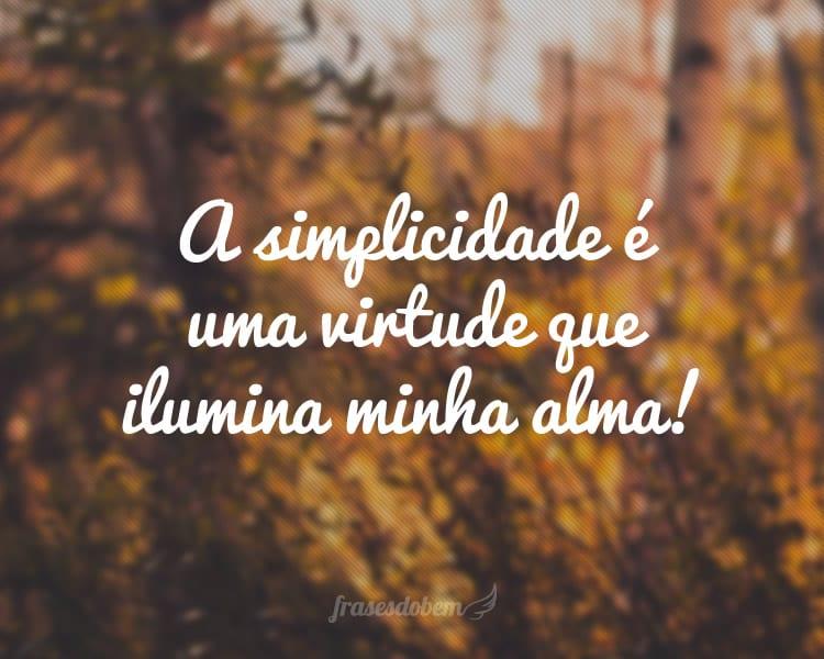 A simplicidade é uma virtude que ilumina minha alma!