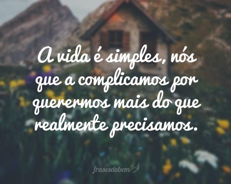 A vida é simples, nós que a complicamos por querermos mais do que realmente precisamos.