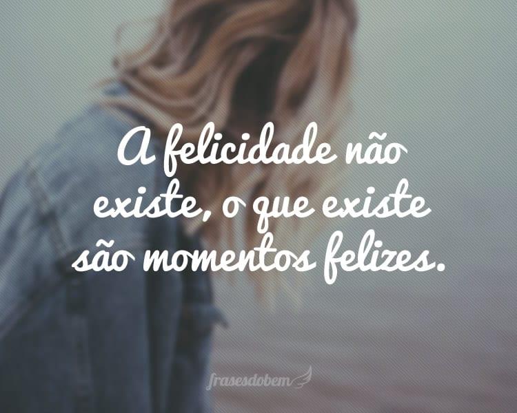 A felicidade não existe, o que existe são momentos felizes.