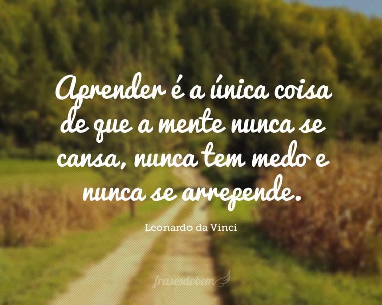 Aprender é a única coisa de que a mente nunca se cansa, nunca tem medo e nunca se arrepende.