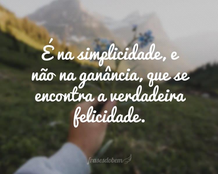 É na simplicidade, e não na ganância, que se encontra a verdadeira felicidade.