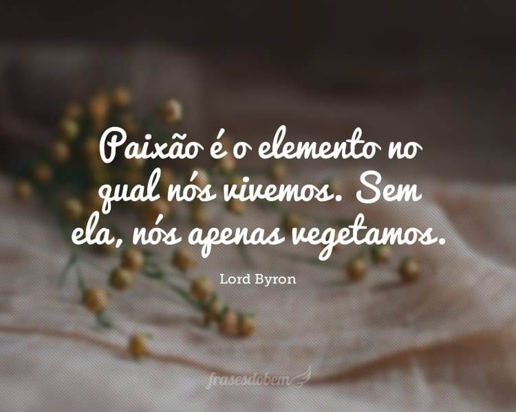Paixão é o elemento no qual nós vivemos. Sem ela, nós apenas vegetamos.
