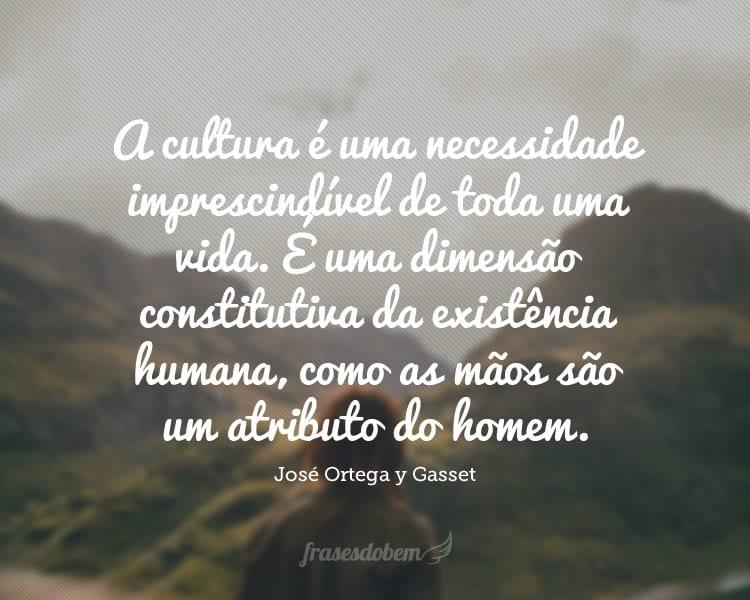 A cultura é uma necessidade imprescindível de toda uma vida. É uma dimensão constitutiva da existência humana, como as mãos são um atributo do homem.