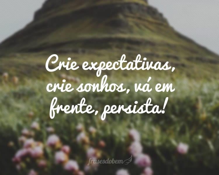 Crie expectativas, crie sonhos, vá em frente, persista!