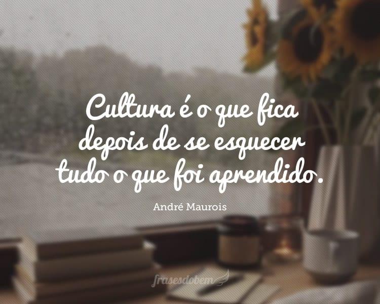 Cultura é o que fica depois de se esquecer tudo o que foi aprendido.