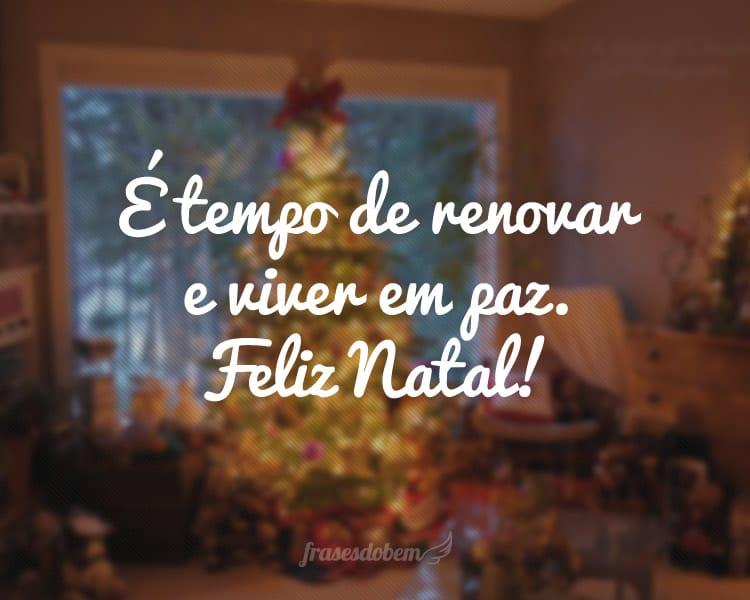 É tempo de renovar e viver em paz. Feliz Natal!