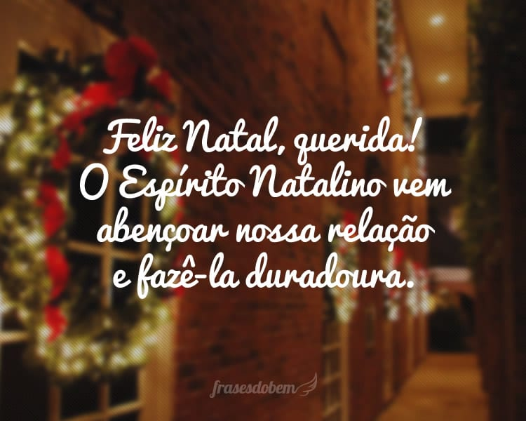 Feliz Natal, querida! O Espírito Natalino vem abençoar nossa relação e fazê-la duradoura.