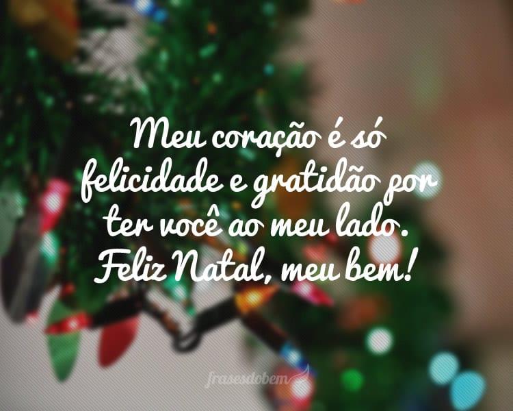 Meu coração é só felicidade e gratidão por ter você ao meu lado. Feliz Natal, meu bem!