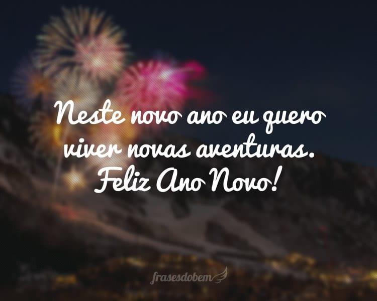 Neste novo ano eu quero viver novas aventuras. Feliz Ano Novo!