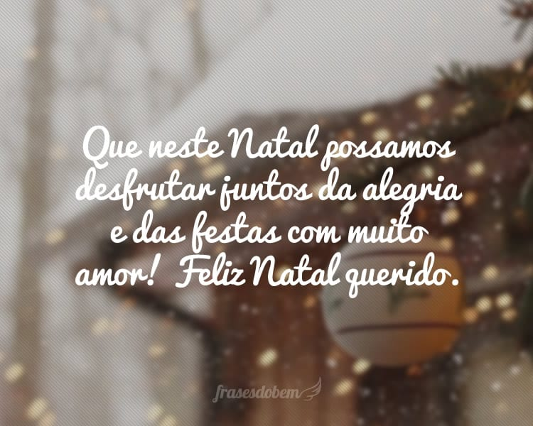 Que neste Natal possamos desfrutar juntos da alegria e das festas com muito amor! Feliz Natal querido.