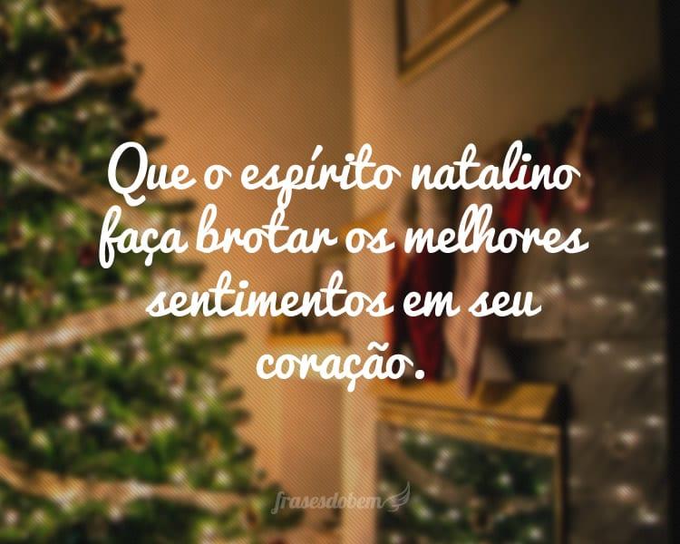Que o espírito natalino faça brotar os melhores sentimentos em seu coração.