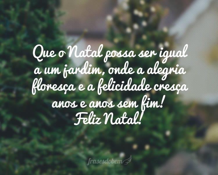 Que o Natal possa ser igual a um jardim, onde a alegria floresça e a felicidade cresça anos e anos sem fim! Feliz Natal!