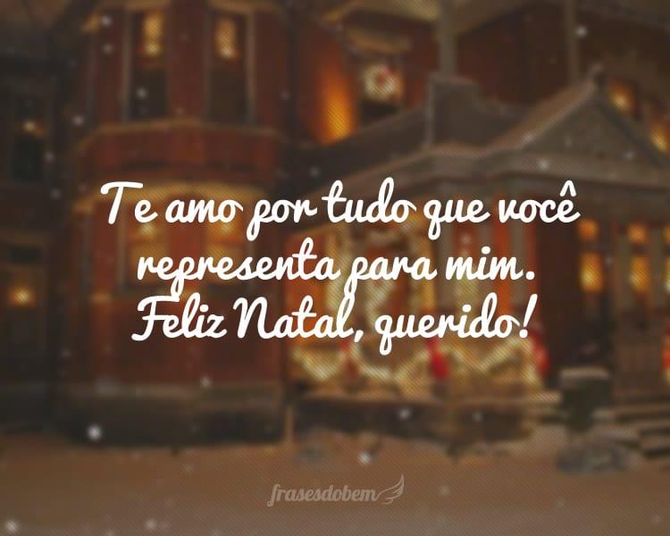 Te amo por tudo que você representa para mim. Feliz Natal, querido!
