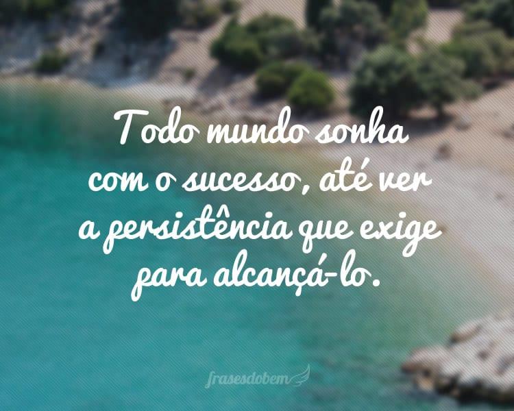 Todo mundo sonha com o sucesso, até ver a persistência que exige para alcançá-lo.