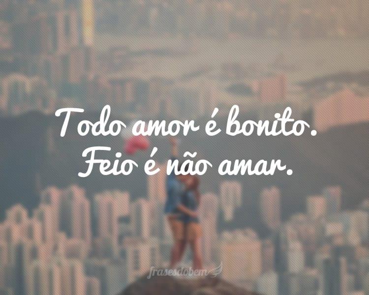 Todo amor é bonito. Feio é não amar.