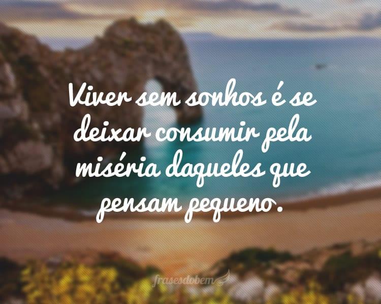Viver sem sonhos é se deixar consumir pela miséria daqueles que pensam pequeno.