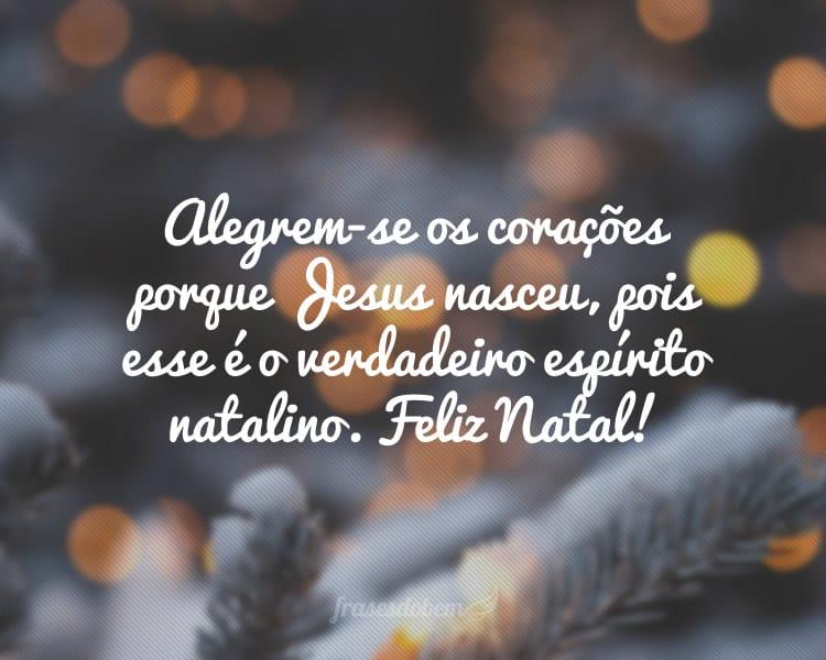 Alegrem-se os corações porque Jesus nasceu, pois esse é o verdadeiro espírito natalino. Feliz Natal!