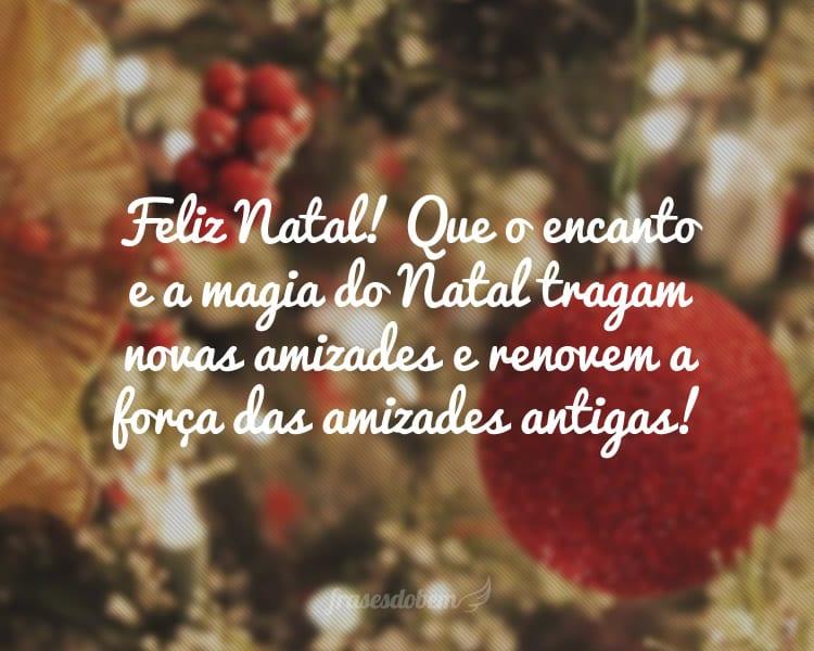 Feliz Natal! Que o encanto e a magia do Natal tragam novas amizades e renovem a força das amizades antigas!