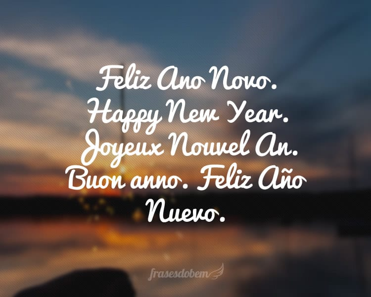 Feliz Ano Novo. Happy New Year. Joyeux Nouvel An. Buon anno. Feliz Año Nuevo.