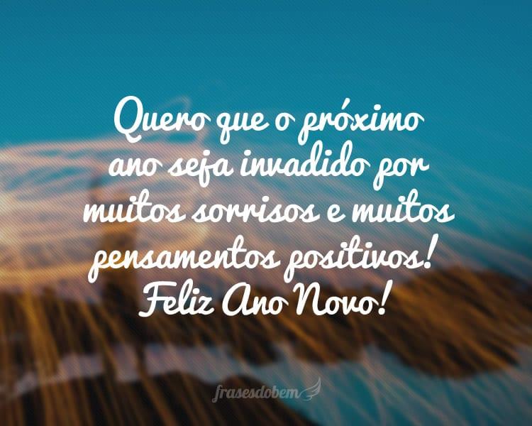 Quero que o próximo ano seja invadido por muitos sorrisos e muitos pensamentos positivos! Feliz Ano Novo!