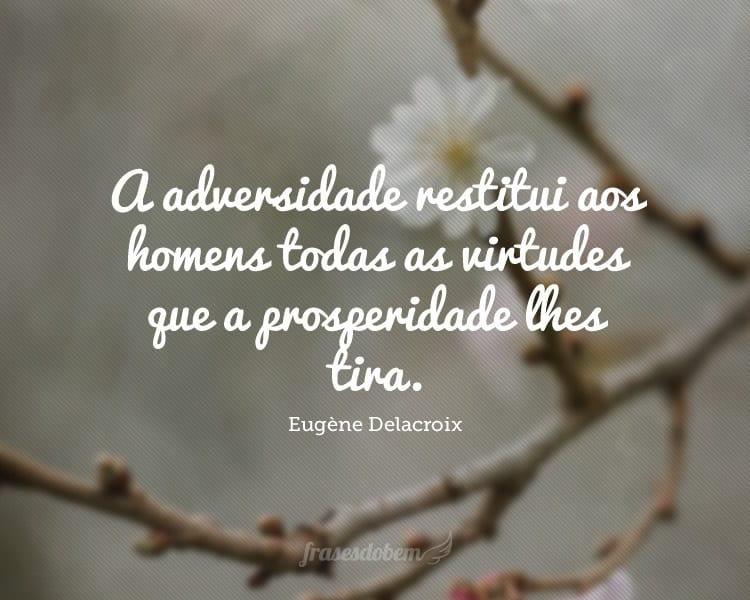 A adversidade restitui aos homens todas as virtudes que a prosperidade lhes tira.
