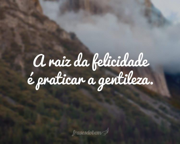 A raiz da felicidade é praticar a gentileza.