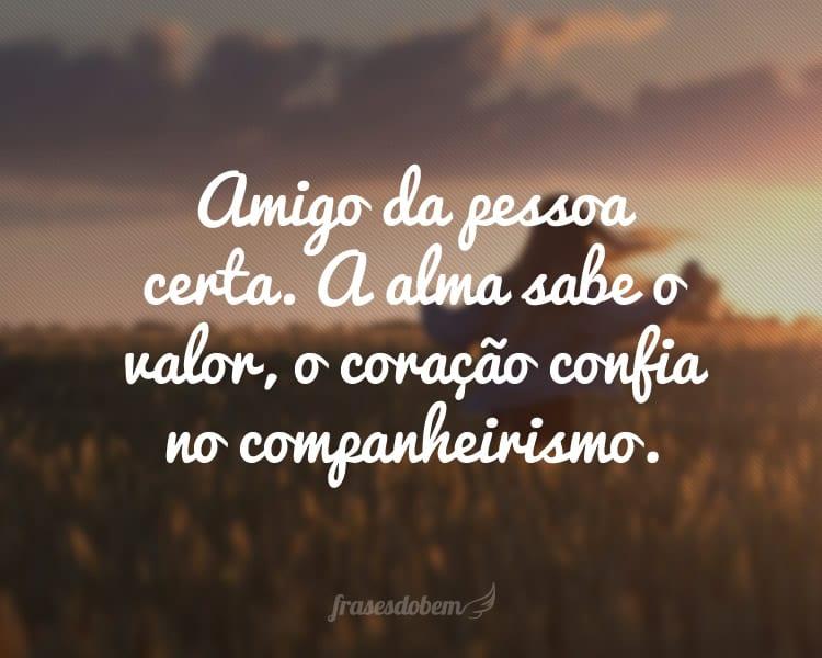 Amigo da pessoa certa. A alma sabe o valor, o coração confia no companheirismo.