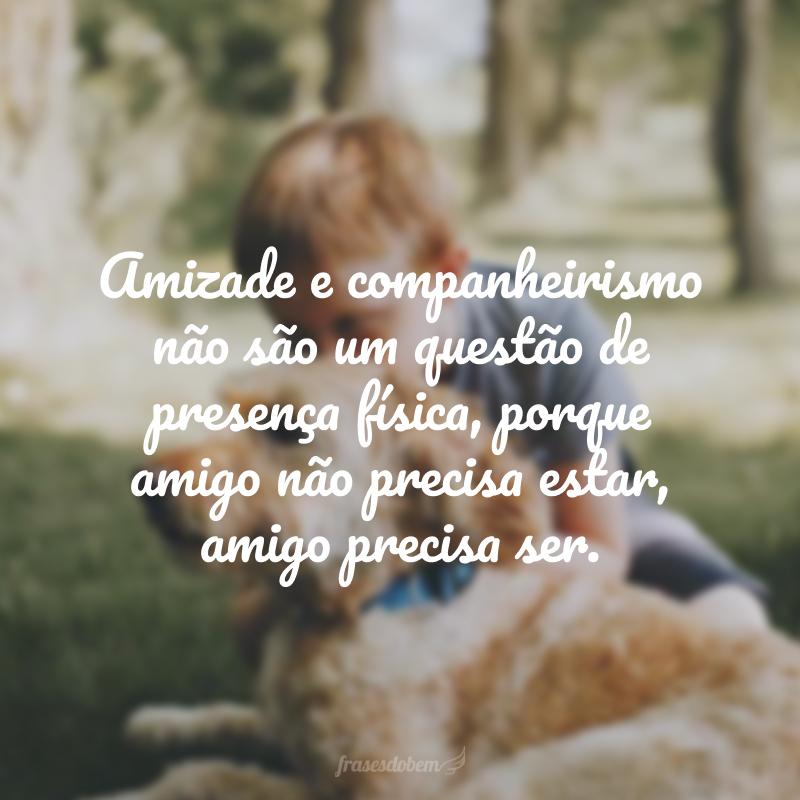 Amizade e companheirismo não são um questão de presença física, porque amigo não precisa estar, amigo precisa ser.