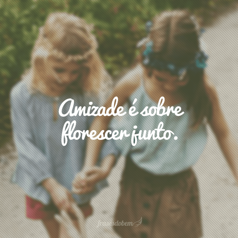 Amizade é sobre florescer junto.