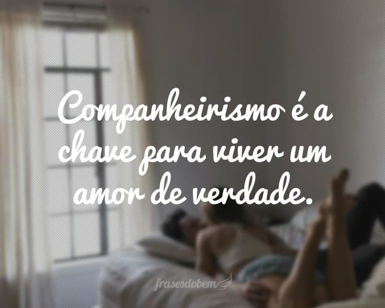 Companheirismo é a chave para viver um amor de verdade.